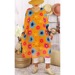 Robe tunique grandes tailles mousseline CAPITO Jaune-Robe tunique femme grande taille-CHARLESELIE94