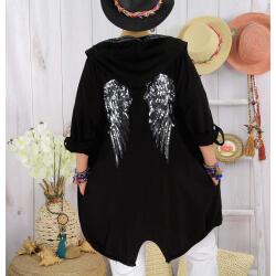Veste sweat capuche grande taille ailes TANTO Noire-Veste femme-CHARLESELIE94