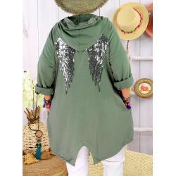 Veste sweat capuche grande taille ailes TANTO Kaki-Veste femme-CHARLESELIE94