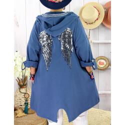 Veste sweat capuche grande taille ailes TANTO Bleu-Veste femme-CHARLESELIE94