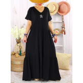 Robe longue été bohème étoile sequins TABOU Noire-Robe longue femme-CHARLESELIE94