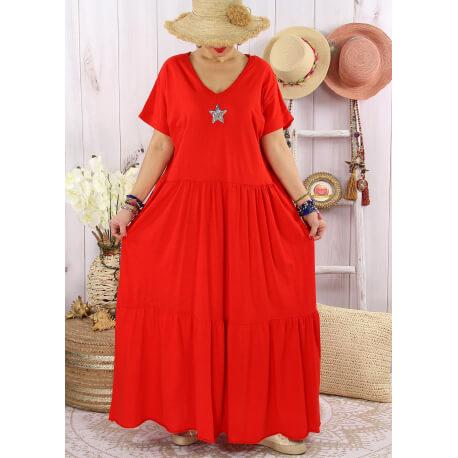 Robe longue été bohème étoile sequins TABOU Rouge-Robe longue femme-CHARLESELIE94