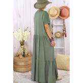 Robe longue été bohème étoile sequins TABOU Kaki Robe longue femme
