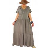 Robe longue été bohème étoile sequins TABOU Taupe-Robe longue femme-CHARLESELIE94