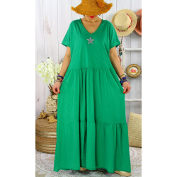 Robe longue été bohème étoile sequins TABOU Vert-Robe longue femme-CHARLESELIE94
