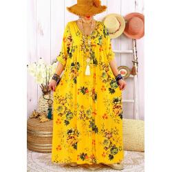Robe longue grande taille été bohème fleurs EMMY Jaune