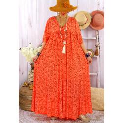 Robe longue grande taille été bohème TIME Orange