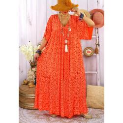 Robe longue grande taille été bohème TIME Orange Robe été femme