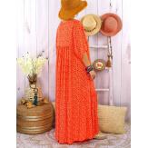Robe longue grande taille été bohème TIME Orange-Robe été femme-CHARLESELIE94