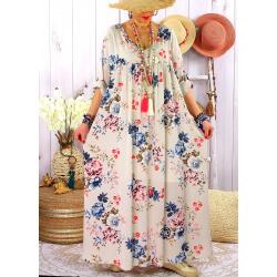 Robe longue grande taille été bohème fleurs EMMY Beige-Robe été femme-CHARLESELIE94