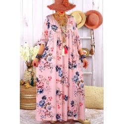 Robe longue grande taille été bohème fleurs EMMY Rose