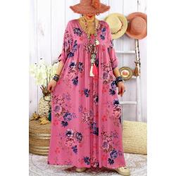 Robe longue grande taille été bohème EMMY Vieux rose