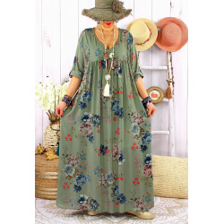 Robe longue grande taille été bohème fleurs EMMY Kaki