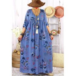 Robe longue grande taille été bohème fleurs EMMY Bleu