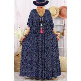 Robe longue grande taille été bohème TIME Bleu marine-Robe été femme-CHARLESELIE94