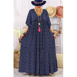 Robe longue grande taille été bohème TIME Bleu marine Robe été femme