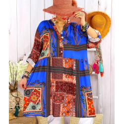 Robe tunique grande taille bohème colorée MINERALE Bleu