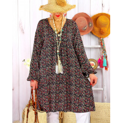 Robe tunique grande taille liberty bohème DIABOLO Noir