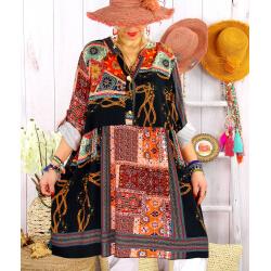 Robe tunique grande taille bohème colorée MINERALE Noir