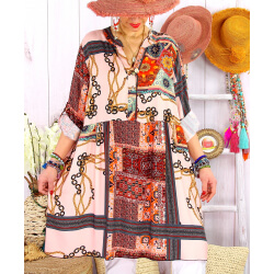 Robe tunique grande taille bohème colorée MINERALE Rose