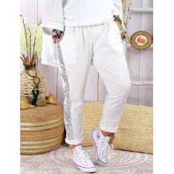 Pantalon jogg femme grande taille strech EVIANE Blanc