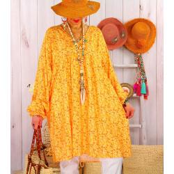 Robe tunique grande taille liberty bohème DIABOLO Jaune