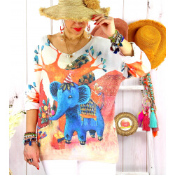 Pull léger femme grande taille MELANIE Eléphants-Pull femme-CHARLESELIE94