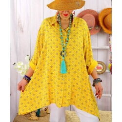 Chemise femme grande taille liberty FRUTTI Jaune-Chemise femme grande taille-CHARLESELIE94