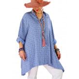Chemise femme grande taille liberty FRUTTI Bleu jean-Chemise femme grande taille-CHARLESELIE94
