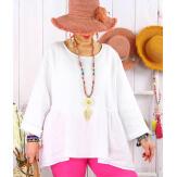 Tunique lin grande taille bohème MAURITIUS Blanc Tunique lin femme