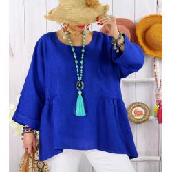 Tunique lin grande taille bohème MAURITIUS Bleu roi-Tunique lin femme-CHARLESELIE94
