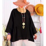 Tunique été lin grandes taille bohèmes MAURITIUS Noire Tunique lin femme