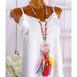 Sautoir long perles verre bois plumes pompons C141-Accessoires mode femme-CHARLESELIE94