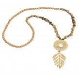 Sautoir long perles verre pompon résine C143-Accessoires mode femme-CHARLESELIE94