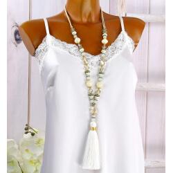 Sautoir long perles verre pompon C145
