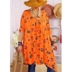 Tunique longue grande taille été TULIPANO Orange-Tunique femme grande taille-CHARLESELIE94