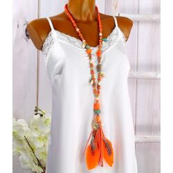Sautoir long perles verre bois plumes pompon C146-Accessoires mode femme-CHARLESELIE94