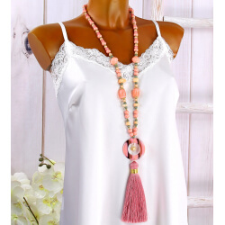 Sautoir long perles verre pompon résine C147