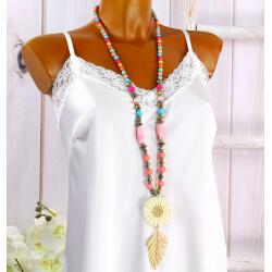 Sautoir long perles verre paille bois résine C149-Accessoires mode femme-CHARLESELIE94