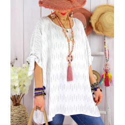 Tunique grande taille été graphique OASIS Blanc-Tunique femme grande taille-CHARLESELIE94
