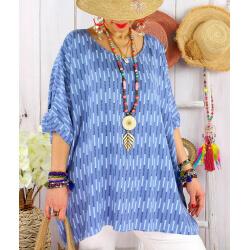 Tunique grande taille été graphique OASIS Bleu-Tunique femme grande taille-CHARLESELIE94