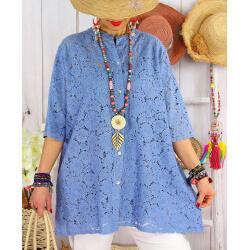 Chemise femme dentelle chic col mao MAEVA Bleu jean Chemise femme