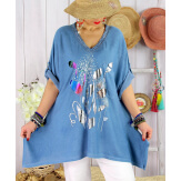 Tunique longue grande taille été col V BRAZIL Bleu Tunique femme grande taille