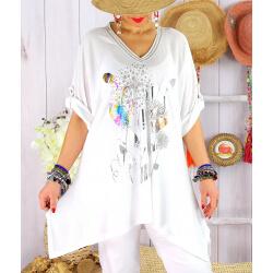 Tunique longue grande taille été col V BRAZIL Blanc-Tunique femme grande taille-CHARLESELIE94