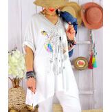 Tunique longue grande taille été col V BRAZIL Blanc Tunique femme grande taille