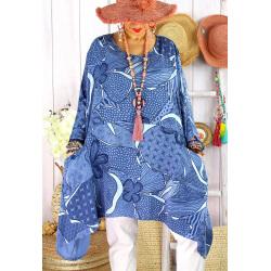 Tunique longue grande taille tencel LISETTE Bleu jean-Tunique femme grande taille-CHARLESELIE94