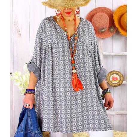Tunique longue grande taille tencel NEA Gris-Tunique femme grande taille-CHARLESELIE94
