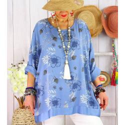 Tunique grande taille coton satin CARLITA Bleu jean-Tunique femme grande taille-CHARLESELIE94