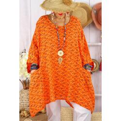 Tunique longue grande taille liberty CHARLINE Orange-Tunique femme grande taille-CHARLESELIE94