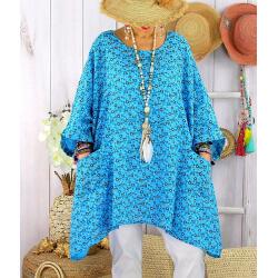 Tunique longue grande taille liberty CHARLINE Turquoise-Tunique femme grande taille-CHARLESELIE94